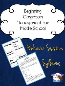 Beginning Classroom Management:  Middle School ~ Syllabus + Behavior System FREE