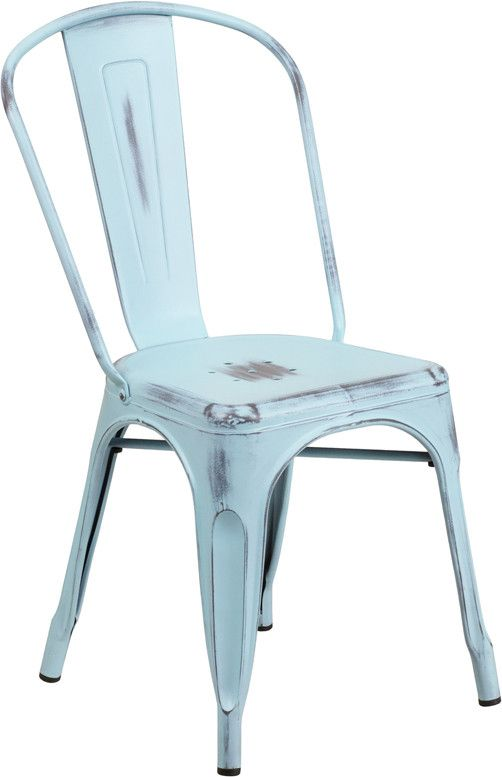 Flash Furniture ET-3534-DB-GG Distressed Dream Blue Metal Indoor Stackable Chair