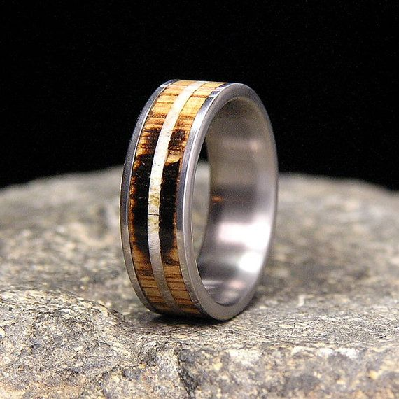 Used Jack Daniel Distillery Whiskey Barrel Wood And Deer Antler Inlay Titanium Wedding Band Or