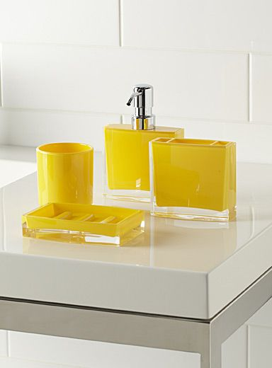 Les 25 meilleures id es concernant salles de bains jaunes for Decoration salle de bain jaune et gris