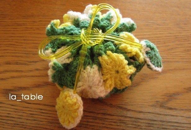 花たくさんの巾着ポーチ AME-CHAN「ミモザ」 - ラ・ターブル