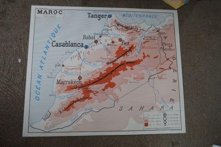 Affiche scolaire Rossignol année 50 Maroc / Afrique du nord ecole carte