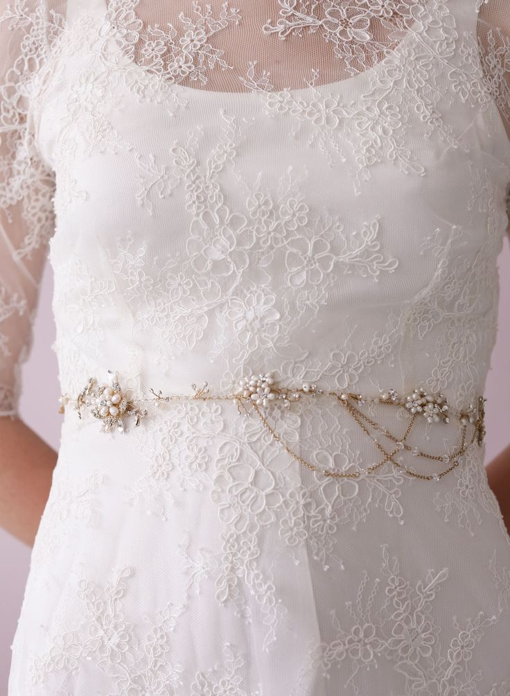 Sweet blossom belt with swags - Style # 422 (2014, accessories, belts, bridal sashes, hair vine, hair vines, headpieces, made to order, sashes, twigs and honey, view all) | Belts | Twigs & Honey ®, LLC