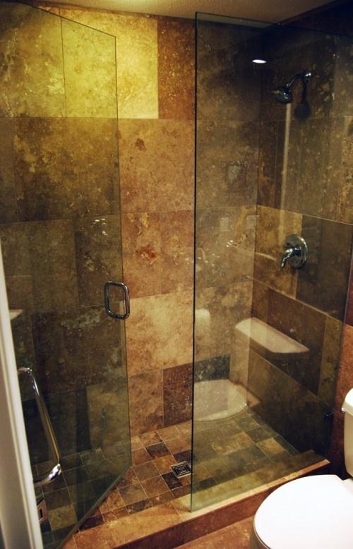 7 best shower ideas images on pinterest bath ideas for Tumbled marble bathroom designs