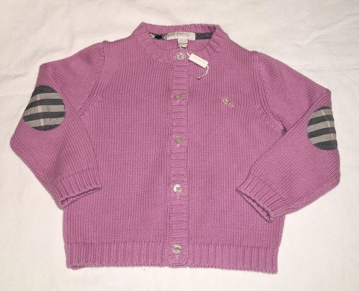 BURBERRY CHILDREN BABY LAVENDER THICK CABLE KNIT CARDIGAN W/HANGTAG - SZ 18 MTHS #Burberry #Cardigan #DressyEverydayHoliday