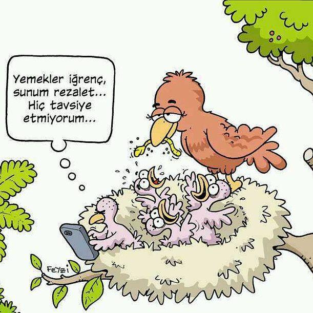 Yemekler iğrenç, sunum rezalet... Hiç tavsiye etmiyorum... #karikatür #mizah #matrak #komik #espri #şaka #gırgır #komiksözler