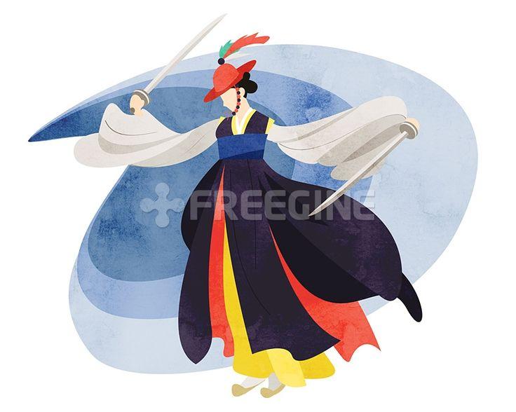 사람, 여자, 여성, 라이프, 문화, 한국, 생활, 춤, 무용, 일러스트, freegine, 전통, 검, illust, 한복, 문화재, 캐릭터, 한국전통, 1인, 에프지아이, FGI, SPAI129, SPAI129_006, 한국전통006, 검무 #유토이미지 #프리진 #utoimage #freegine 19376356
