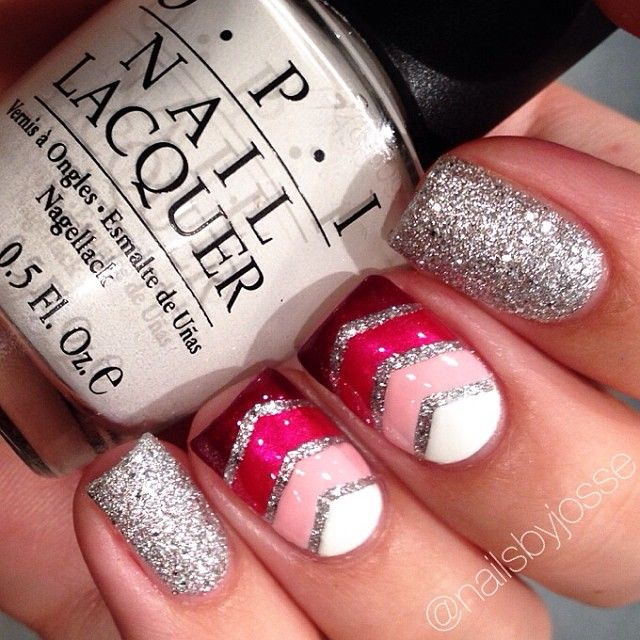 Ombre pink and silver