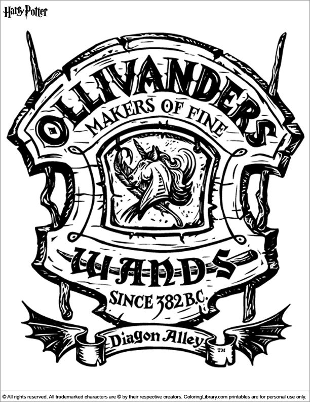 Harry Potter coloring page, would look great in my planner ! | Harry Potter | Gryffindor | Ollivander's | Filofax | Planner | Organizer | Inspiration | Ideas