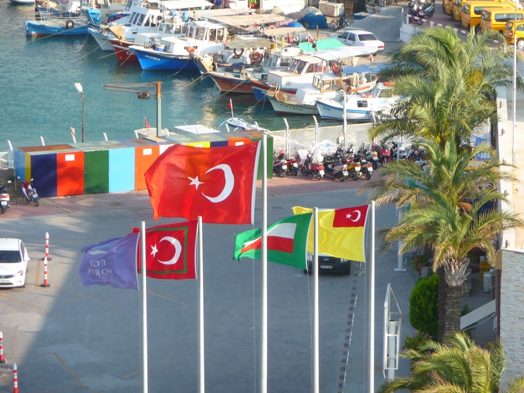 The flags of Turkey at the Port of Kusadasi