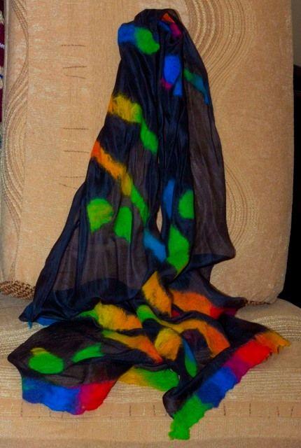"""Длинный шарф """"Витраж"""". Натуральный шелк, шерсть."""