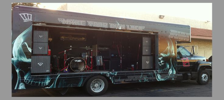 This 24 foot former Uhaul box truck now owned by the Athiarchists has been converted to a music stage for heavy, thrash metal music.