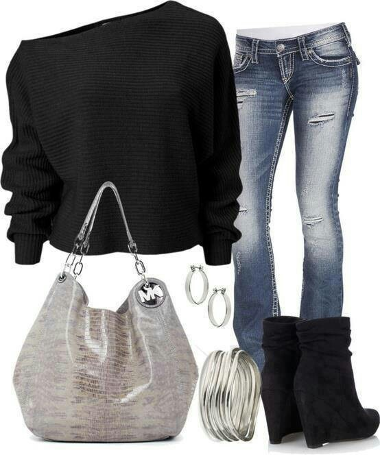 WHAT: Off-shoulder sweater, jeans, boots, purse, accessories. WHERE: Pinterest WHY: I'd probably wear something very similar to this on a not-casual-but-not-fancy date night.