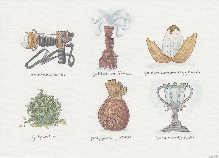 """Harry Potter Inspired Illustrations  A series of """"artifacts"""" from the wizarding world (and extremely fun commission!).  """"Harry Potter Artifacts; Books 1-7,"""" ink and watercolor, 2013."""