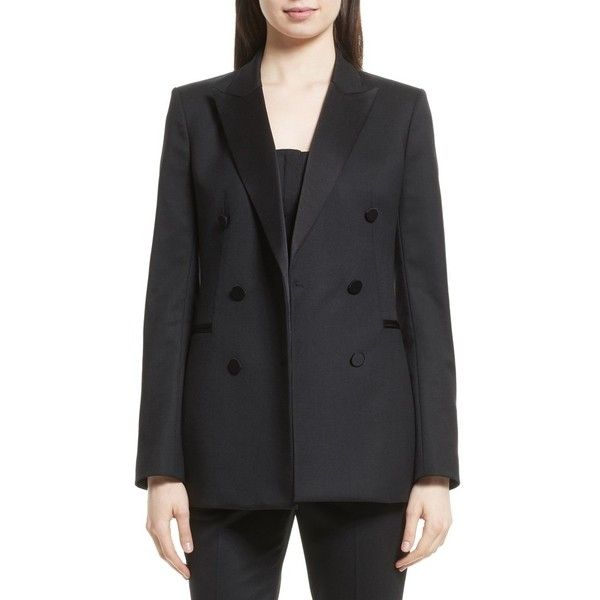 Women's Theory Wool Blend Tuxedo Jacket ($585) ❤ liked on Polyvore featuring outerwear, jackets, blazers, black, double breasted jacket, stretch blazer, tuxedo jacket, double breasted blazer and tux blazer