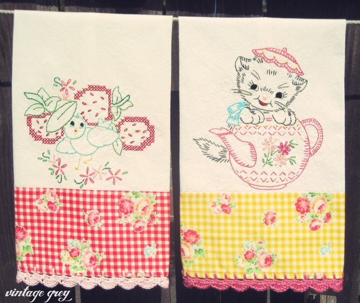 271 best images about tea towels on pinterest - Free embroidery designs for kitchen towels ...