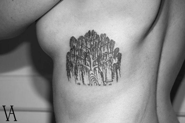 Weeping willow tattoo on the left side of the ribs.