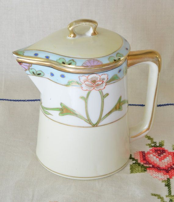 Hand painted Nippon creamer with lid