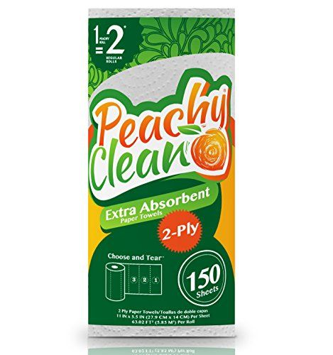 Peachy Clean Paper Towels (2 Huge Rolls, White) - Premium Extra Absorbent 2-Ply Paper Towels - 150 Choose & Tear Paper Towel Sheets