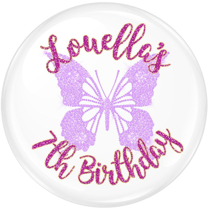 Butterfly Personalised Birthday Party Badge #339