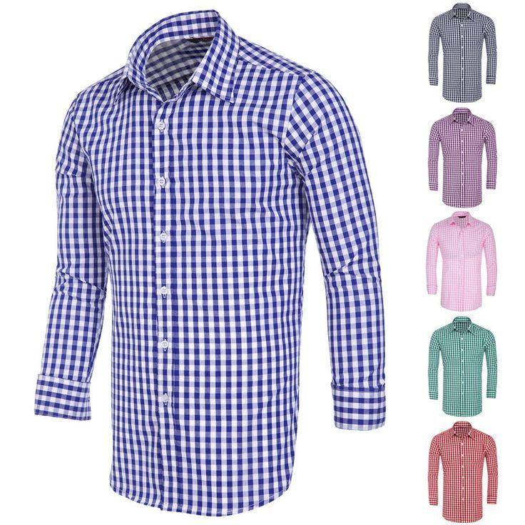 Luxury Shirts Mens Casual Stylish Plaid Slim Fit Long Sleeve Shirts Dress Shirts…