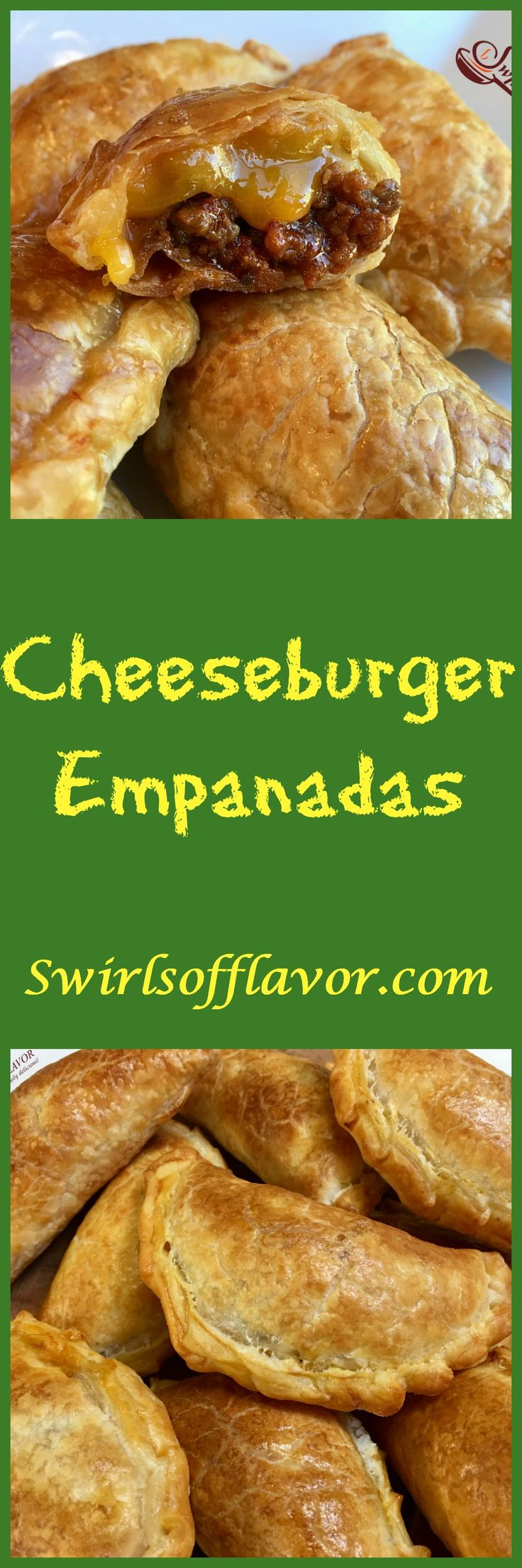 Cheeseburger Empanadas are bursting with a ground beef, ketchup and cheese filling, making them the perfect kid friendly snack!