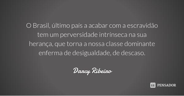 O Brasil, último país a acabar com a escravidão tem um perversidade intrínseca na sua herança, que torna a nossa classe dominante enferma de desigualdade, de descaso. — Darcy Ribeiro