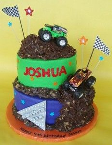 I like the idea of the cake being messy at the bottom, like the truck dug into it....use cookie crumbs to make this effect.