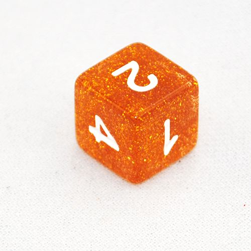 Glitter Yellow and White 6 Sided Dice