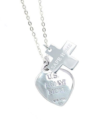 Solid Sterling Silver Army Mom Military Gift Valentine Necklace SH. All Army Jewelry - Generous Silver Weight - Good Solid Feel. Army Mom Necklace - 18 Inch Sterling Silver Chain. All Military Valentine Gifts - Teal Jewelry Pouch - Polishing Cloth. All Military Jewelry - Solid Sterling Silver 3D Charms. All Army Valentine Gifts - Teal Designer Jewelry Gift Box.