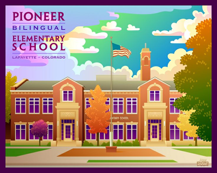 print of Pioneer Elementary by local artist