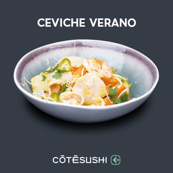 CEVICHE VERANO : Daurade, crevette, patates douces, maïs cancha, oignon rouge, coriandre, jalapenos, sauce ceviche + 1 riz le midi