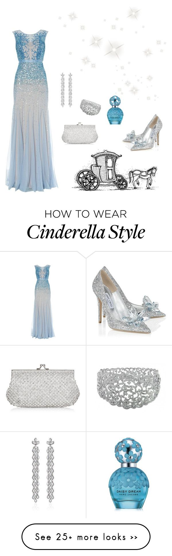 """Inspired by: Cinderella"" by jhasy on Polyvore featuring Adrianna Papell, Jimmy Choo, Monsoon, Bochic and Marc Jacobs"
