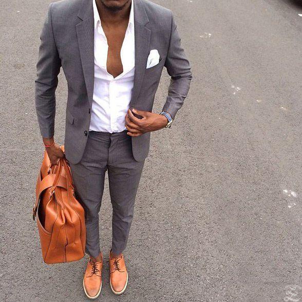 Men in Grey. FOLLOW : Guidomaggi Shoes Pinterest... | MenStyle1- Men's Style Blog