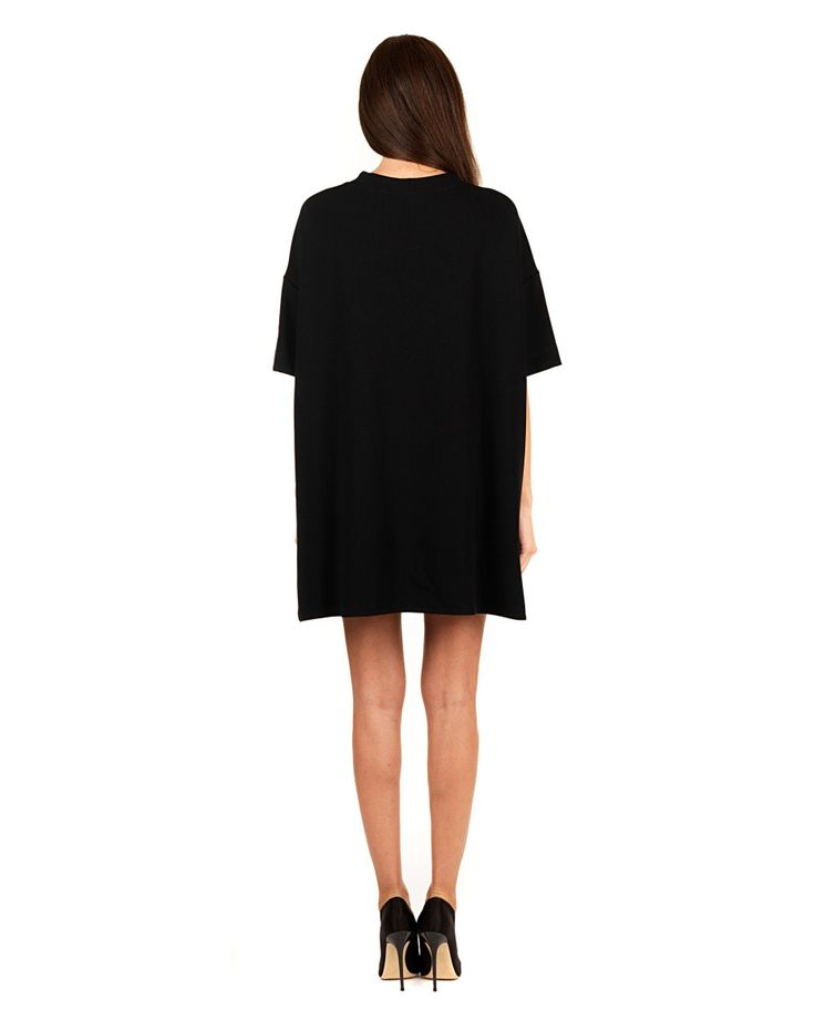 GILES black mini-dress  colored sequin embroidery wide sleeves  small side slits 66% VI 24% PA 10% EA  Embroidery 100% PVC Lining 100% CO