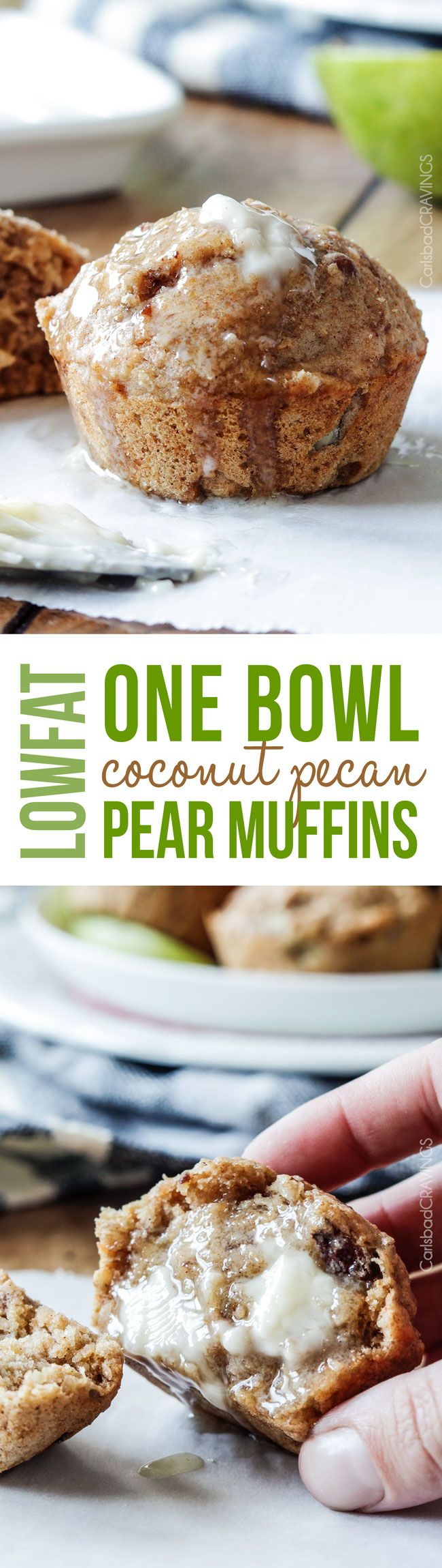 ONE BOWL quick and easy Lowfat Coconut Pecan Pear Muffins bursting with toasted coconut and pecans and super moist from pear puree – you won't believe they are guilt free!! via @carlsbadcraving