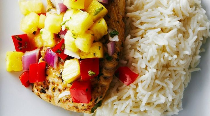 Grilled Tofu With Pineapple Salsa And Coconut Rice Recipe — Dishmaps