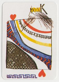 K♥ Snapshot: David Hockney King of Hearts. Anish Kapoor, David Hockney, and Damien Hirst were among the 52 artists commissioned to design playing cards that are now on view at London's A Gallery- could be done as an art history project.