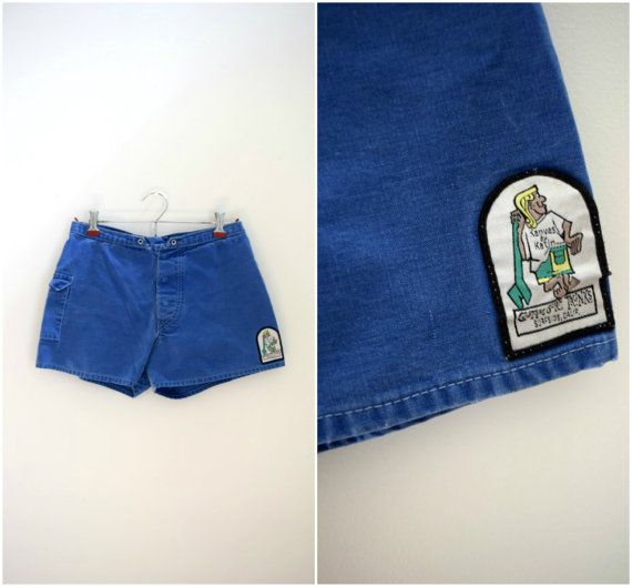 Vintage retro surf trunks / blue denim-like beach shorts / California patch surfer shorts