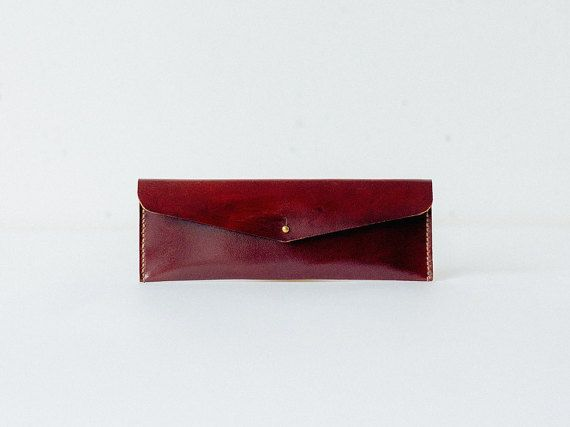 Leather pencil case, maroon brown envelope leather case, pen case pouch, pencil holder