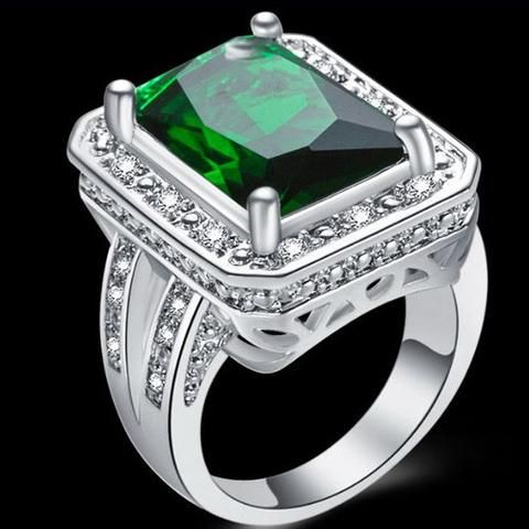 925 Silver Genuine Emerald Quartz and White Topaz Ring Plus Free Red Rose Gift Box - UCHARMME.co.nz - 1