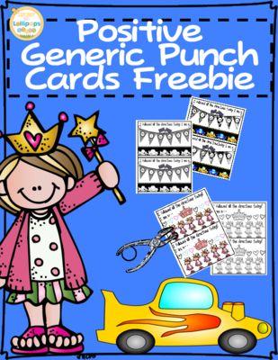 Free Generic Behavior Punch Cards from Sunshine and Lollipops on TeachersNotebook.com -  - Behavior Punch Cards to support positive Behavior.