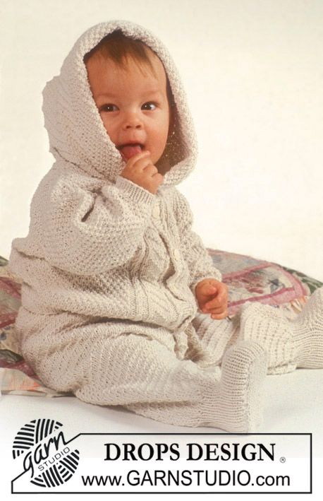 "Drops Aran pattern Set (jacket with optional hood and pants) in ""Safran"". ~ DROPS Design"