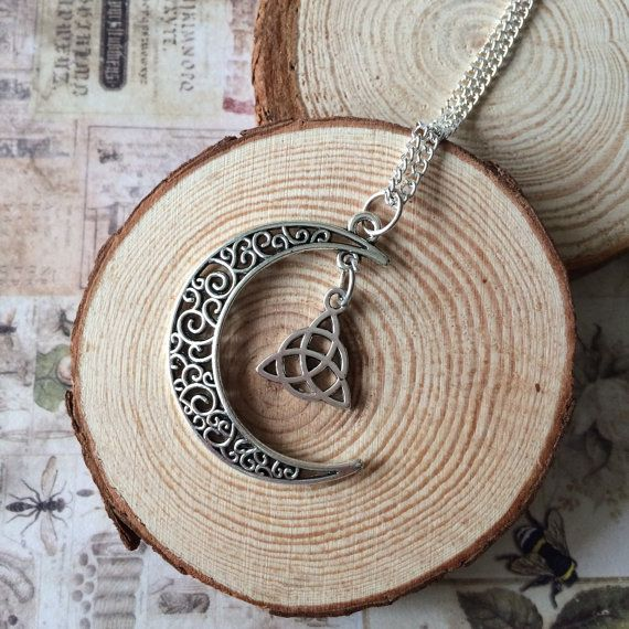 Moon and celtic knot necklace Moon necklace by ArrowsAtMyWindow