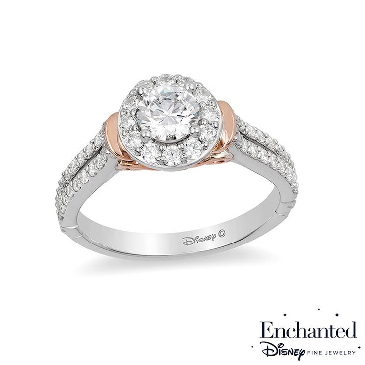 Enchanted Disney Cinderella 1 CT. T.W. Diamond Frame Collar Engagement Ring in 14K Two-Tone Gold