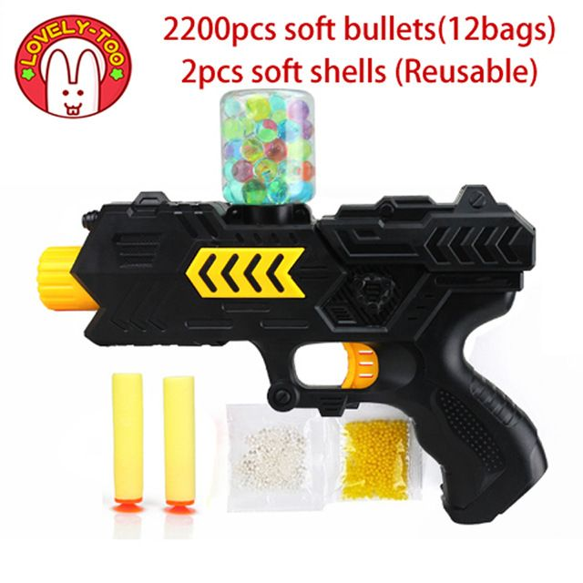Lovely Too Paintball soft gun water orbeez gun EVA bullet + water bomb dual-purpose pistol bursts of crystal toy shooting nerf