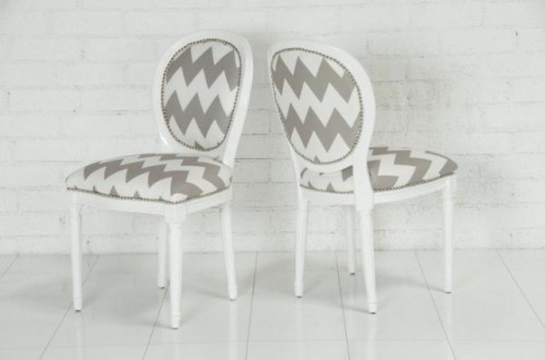 I would really really really love to reupholster our dining room chairs in a chevron print...but I think that might be too trendy. I want something timeless.