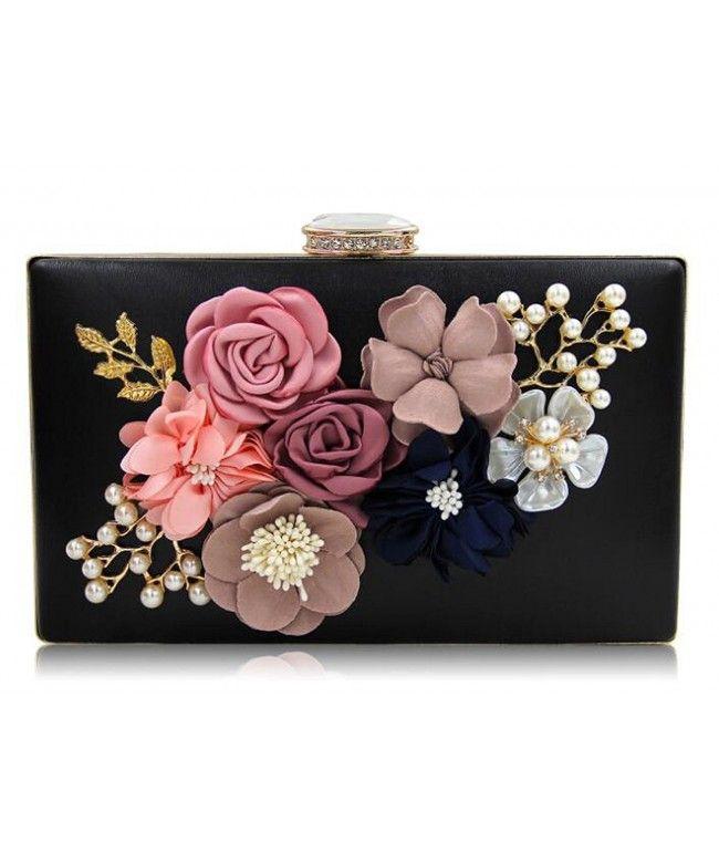 Womens Satin Flower Evening Clutch Bag Pearl Beaded Wedding Bridal Purse  Prom Party Handbag - Black