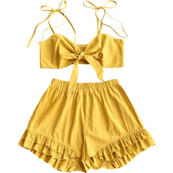Smocked Cami Top And Ruffled Shorts Set ($30) ❤ liked on Polyvore featuring ruffle cami, yellow cami and yellow camisole