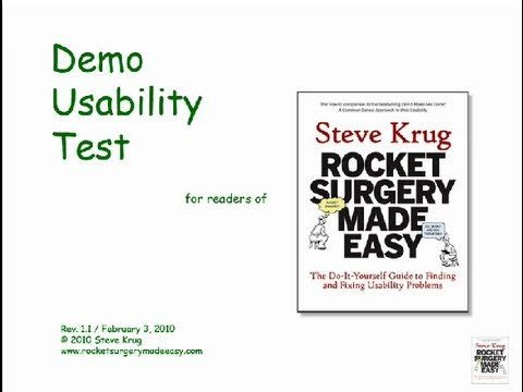 A demo usability test that accompanies the book 'Rocket Surgery Made Easy', by Steve Krug.